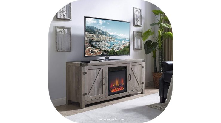 tv stand with fireplace mini