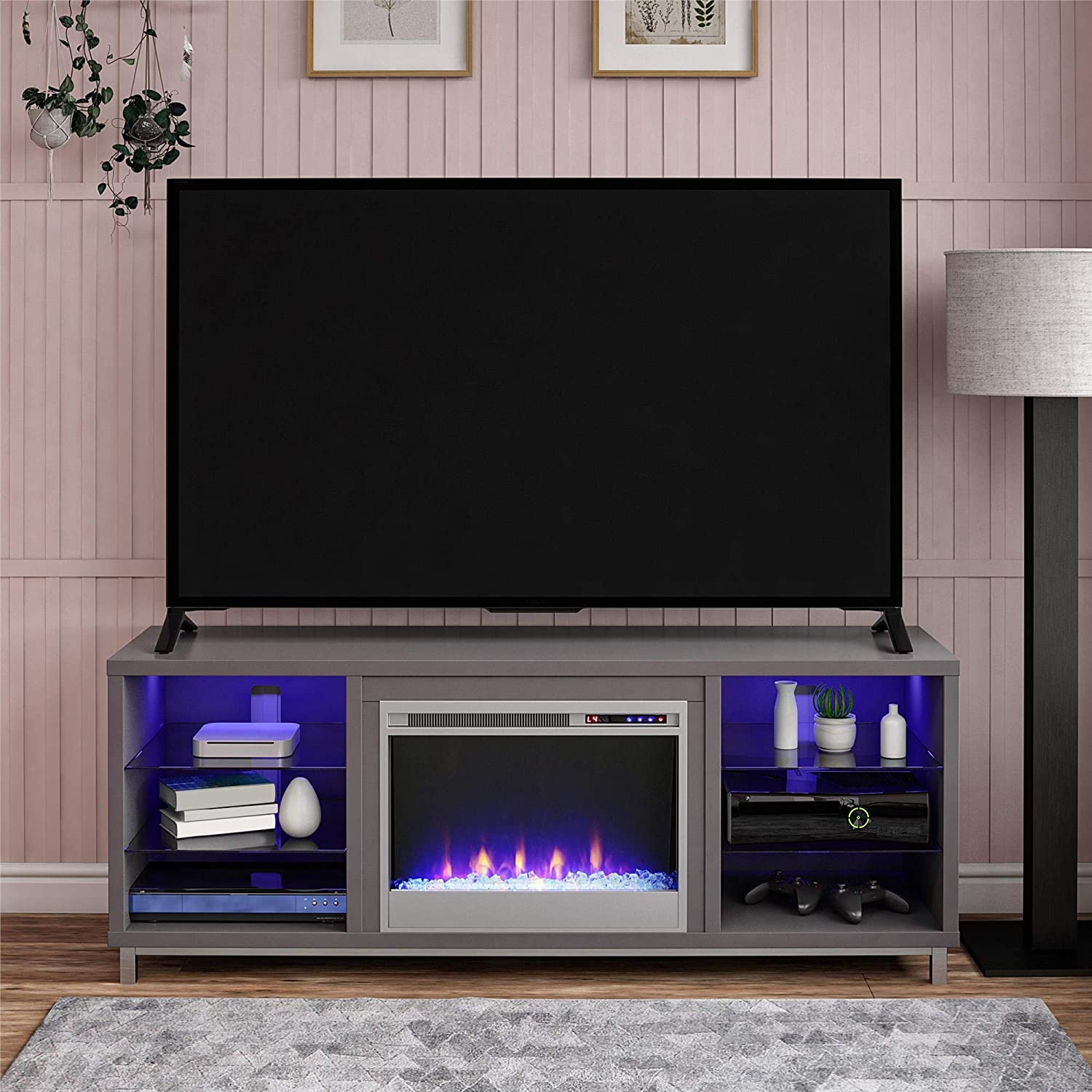 BOX Ameriwood Home Lumina Fireplace TV Stand for TVs up to 70